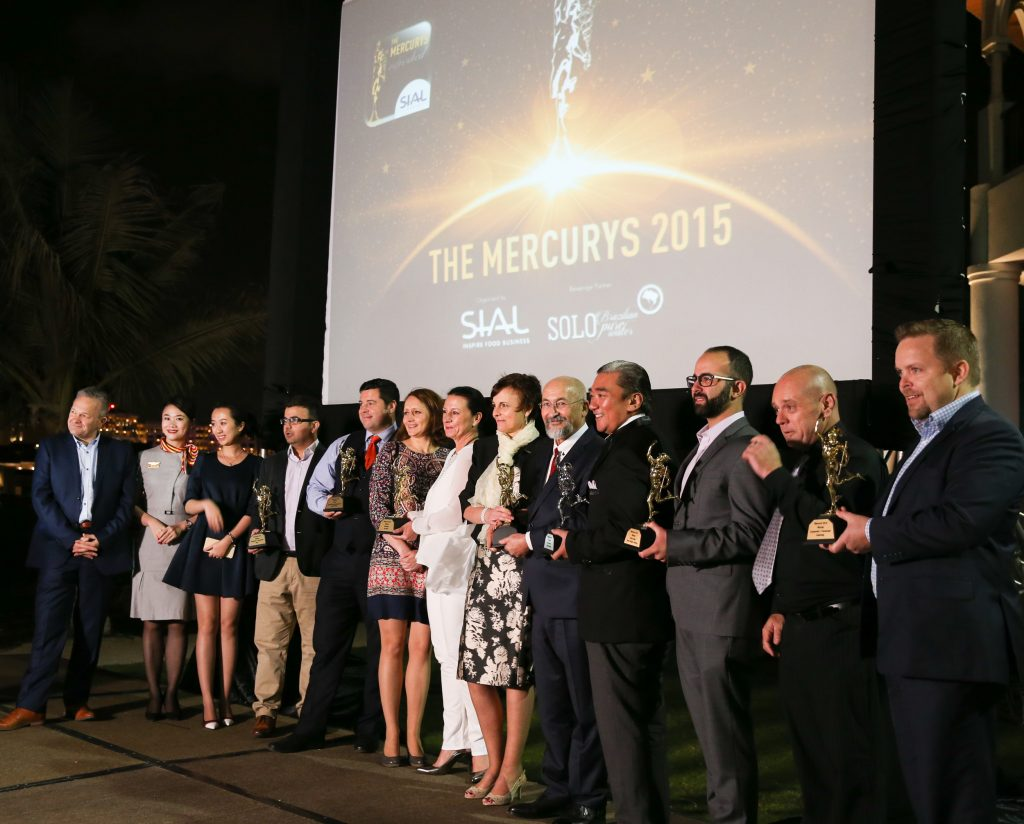 The Mercurys winners celebrating at last year's SIAL event at the Shangri-La hotel in Abu Dhabi.