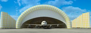 Temporary inflatable hangars