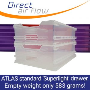 Superlight ATLAS standard dual runner translucent polypropylene drawer – Inflight galley equipment – Immediate delivery